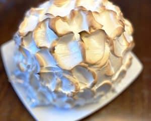 Baked Alaska covered in meringue