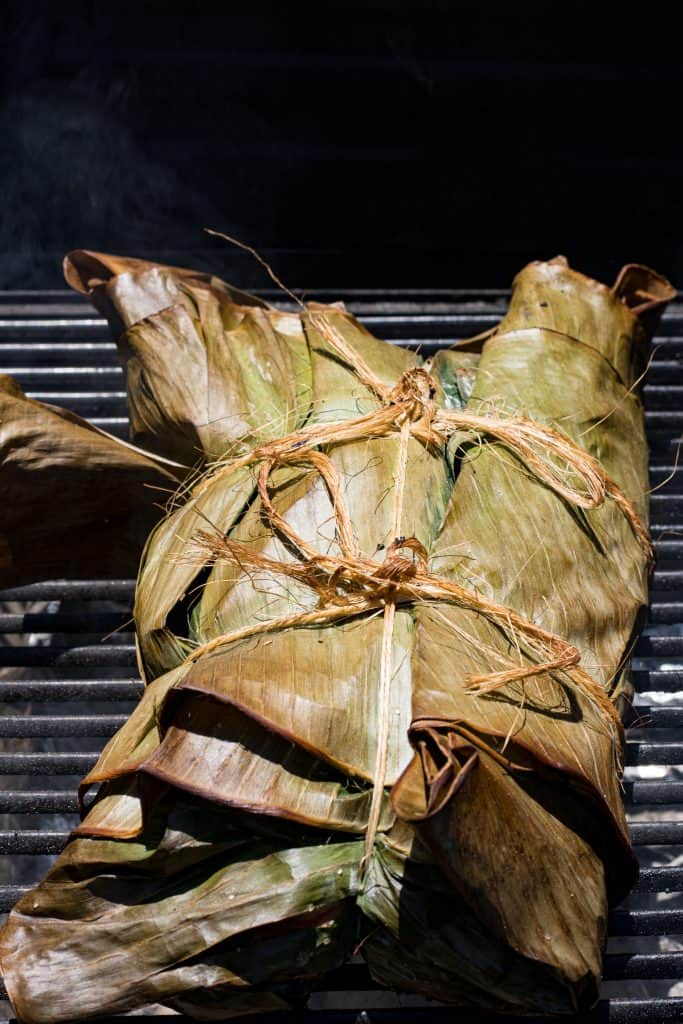 Kalua Pork wrapped in banana leaves