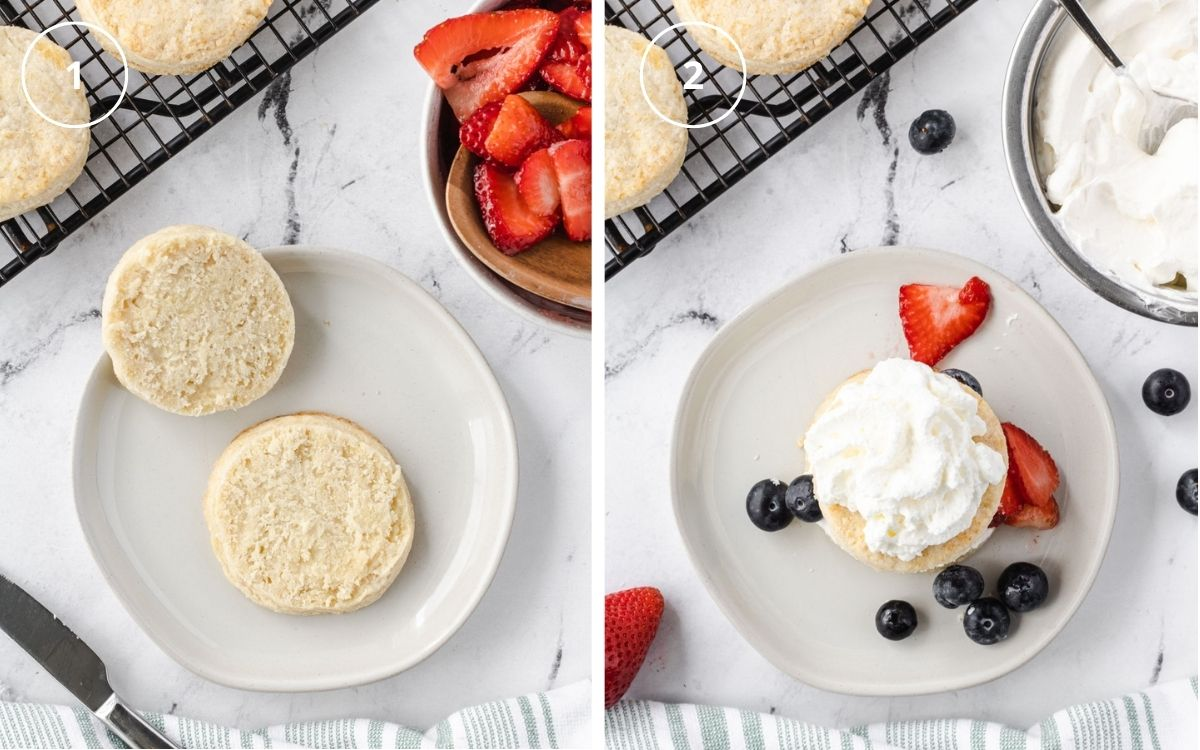 Two photos: one with shortcakes split in half, the other showing assembly, with some whipped cream on shortcake and berries scattered around.