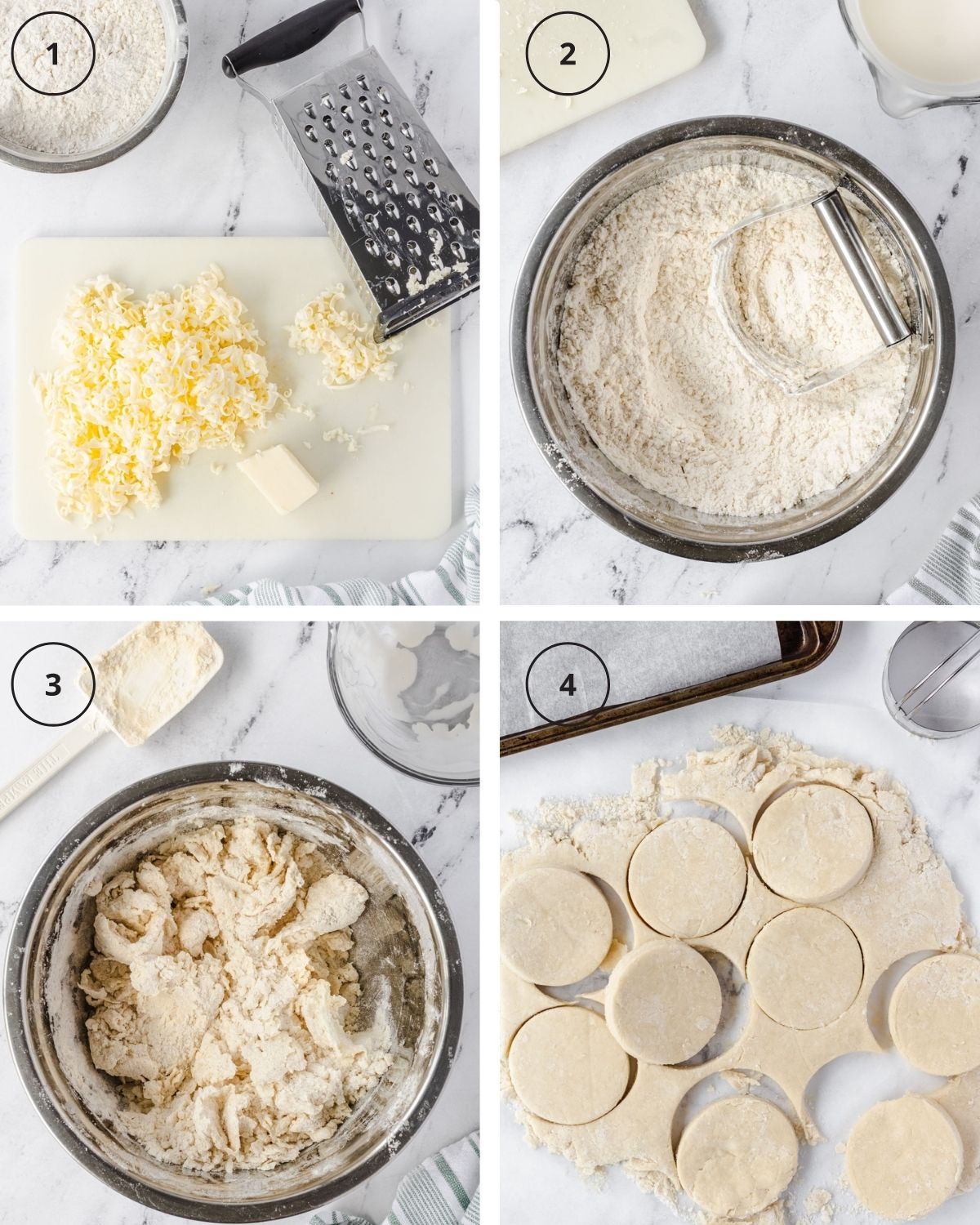 Collage of shortcake steps: 1) Grating butter, 2) Pastry cutter in bowl with flour and butter, 3) Crumbled dough in bowl, 4) Dough cut into circles.