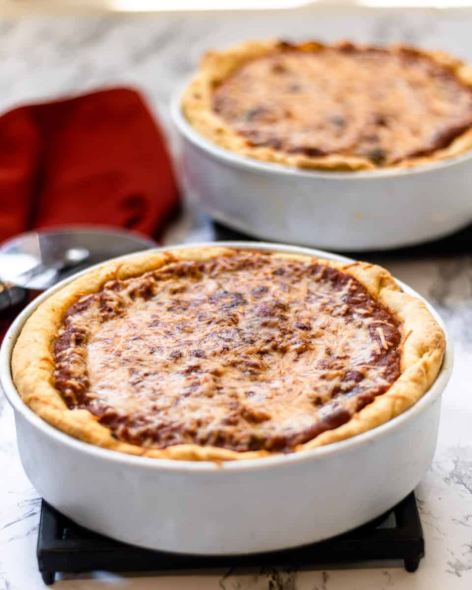 Two Chicago-Style Deep Dish Pizzas