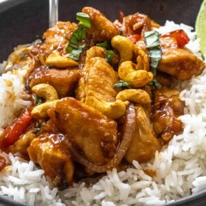 Close up of Thai Cashew Chicken