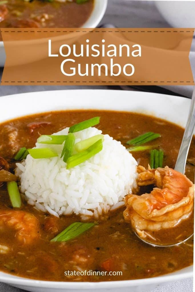 Pinterest pin for Louisiana Gumbo, with a bowl of gumbo and rice.