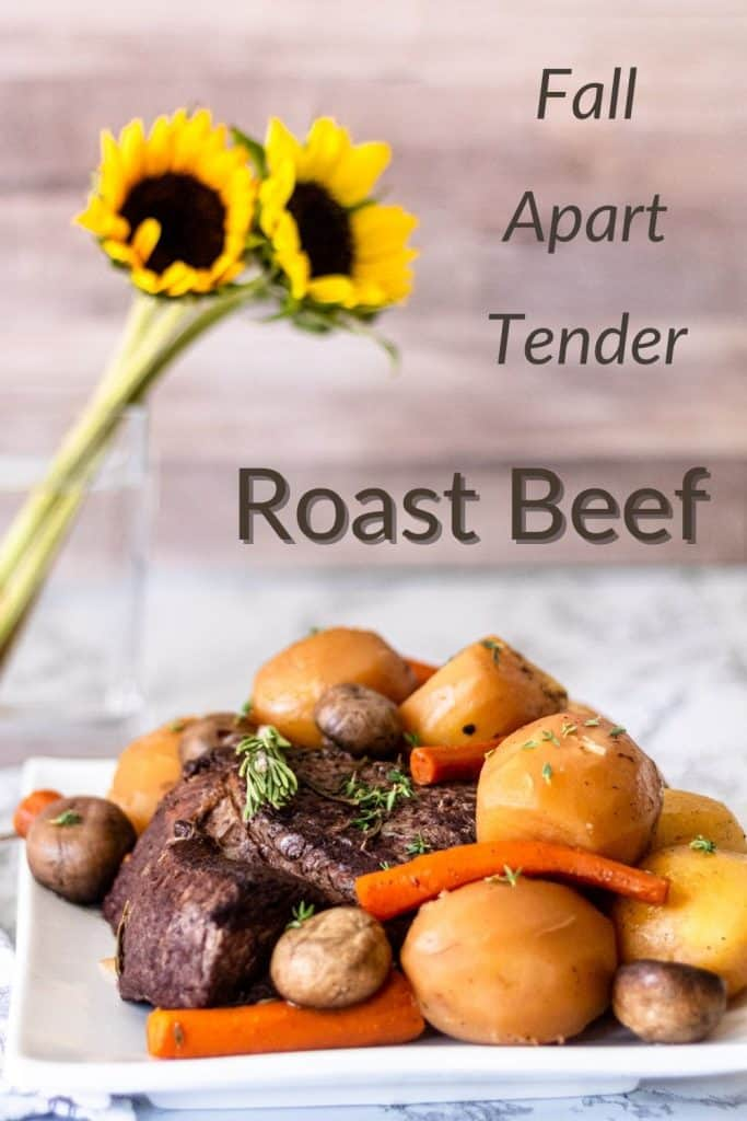 Pinterest image of a plate of pot roast with words fall apart tender roast beef written o
