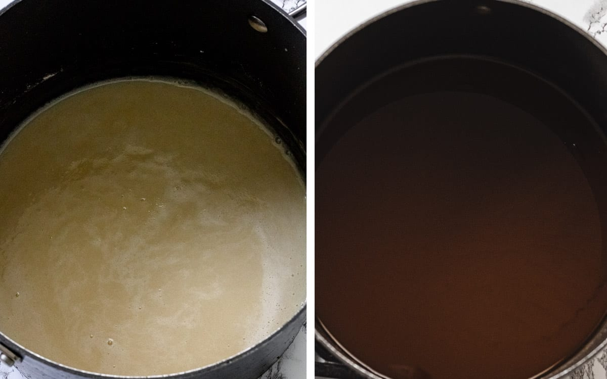Left side is a pan of cream-colored roux. Right side is milk chocolate colored roux.
