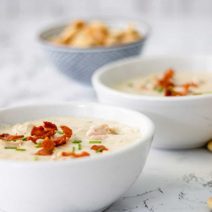 Clam chowder, a famous food from Massachusetts.