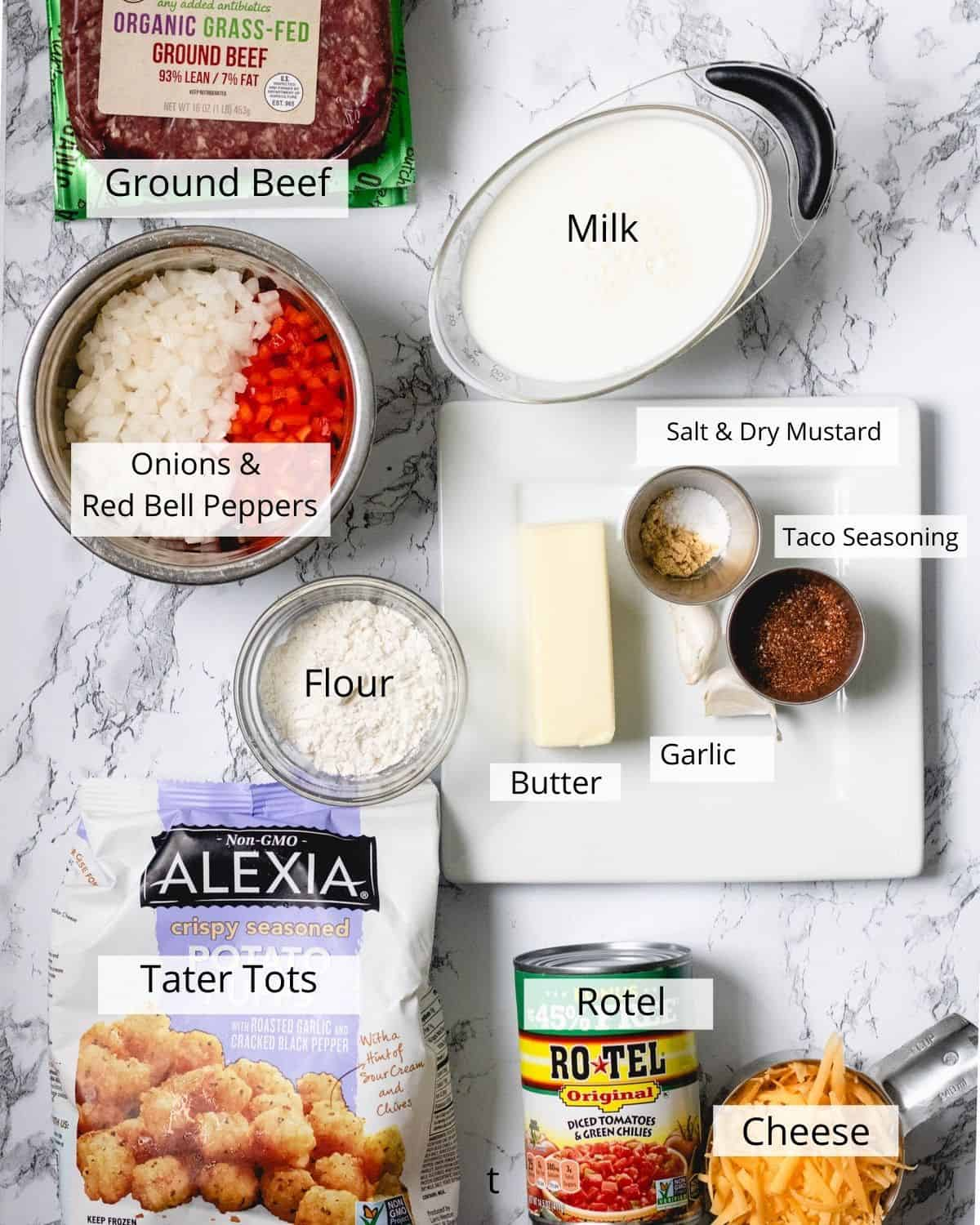 Flatlay of all of the ingredients used in taco hotdish, with ingredients labeled.