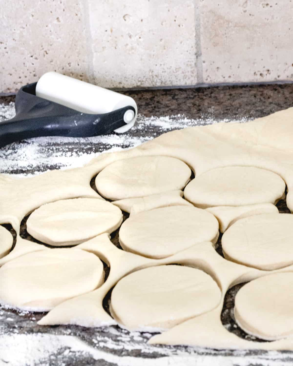 Dough that is rolled ¼ inch thick and cut into 3-inch circles.