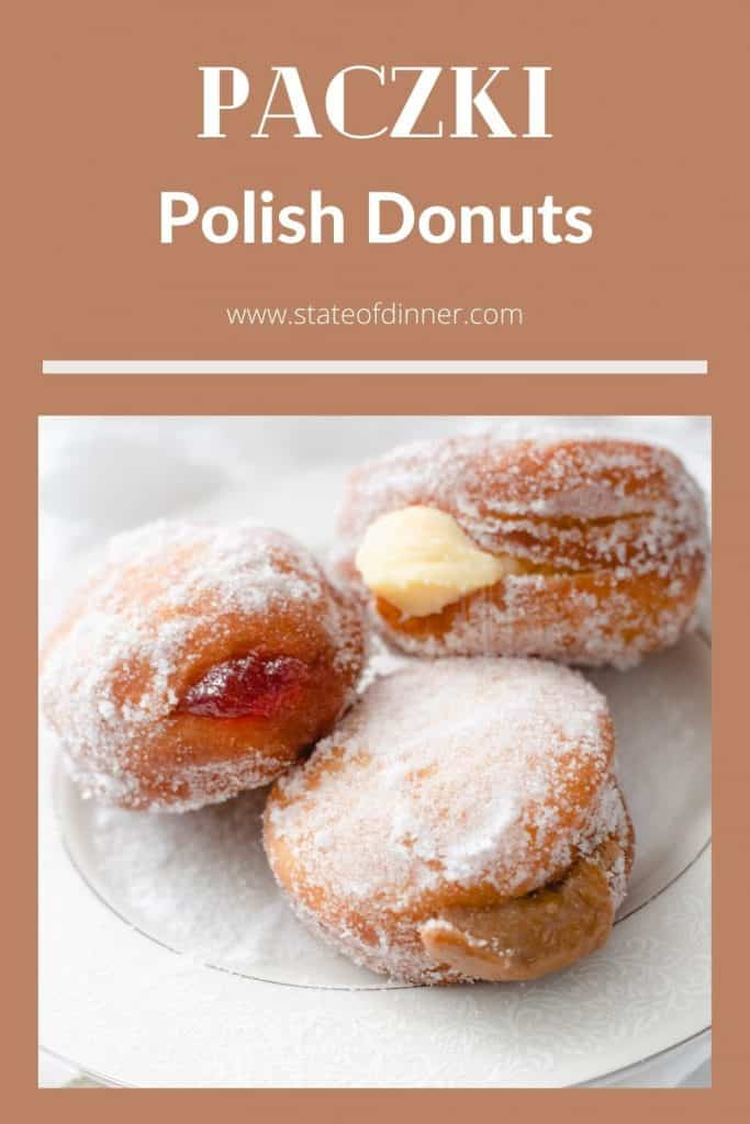 Pinterest Pin: Paczki Polish Donuts; 3 donuts on a plate.