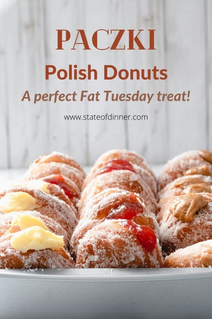 Pinterest Pin: Paczki Polish Donuts: A perfect Fat Tuesday treat (tray of paczki).