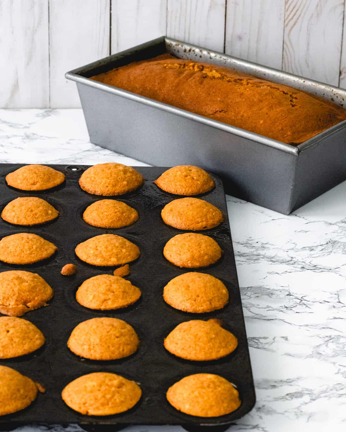One tray of applesauce pumpkin muffins and one loaf pan.