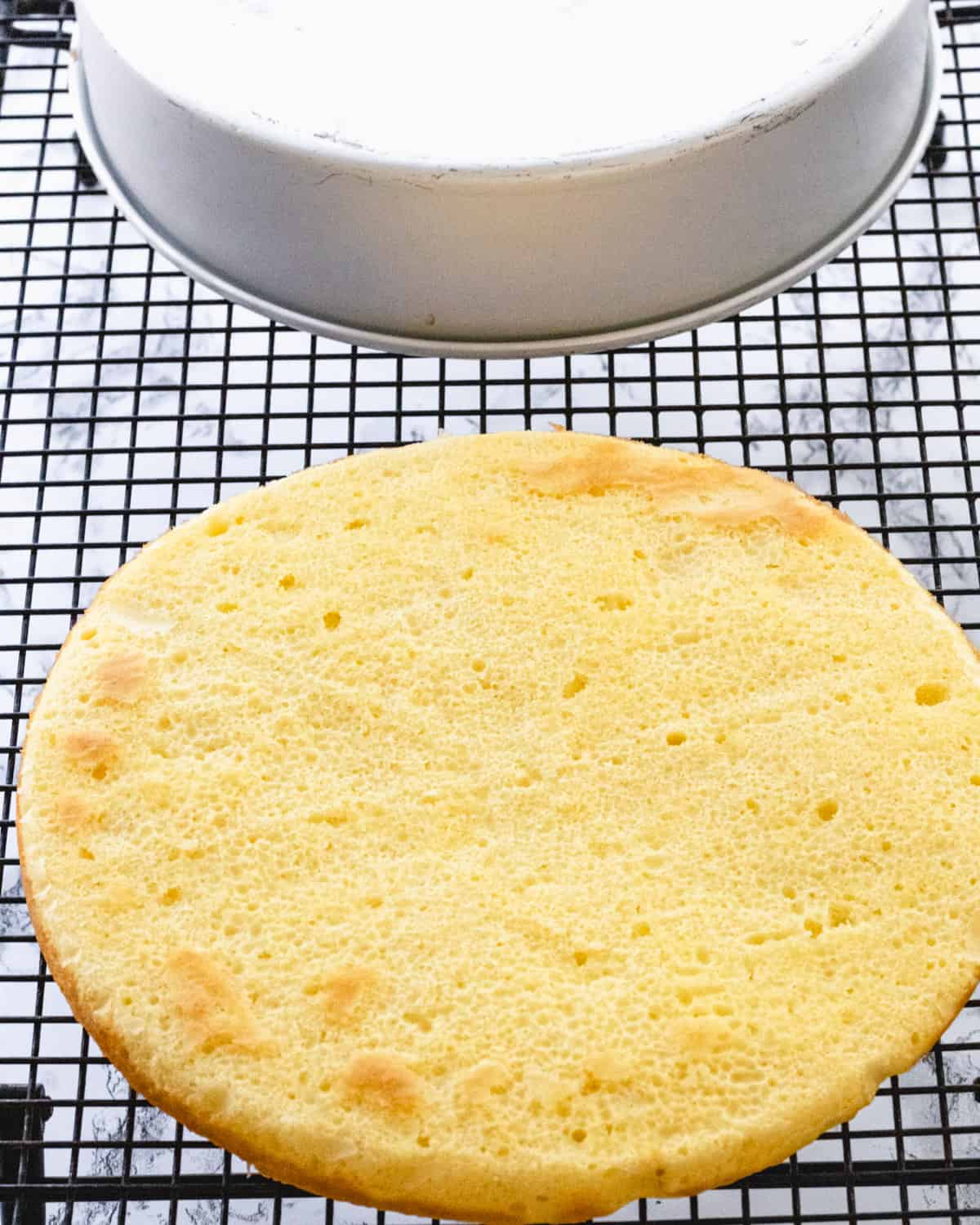 A pencil thin layer of cake on a cooling rack.