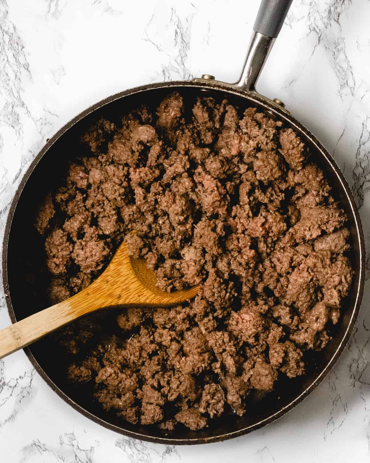 Pan of ground beef.