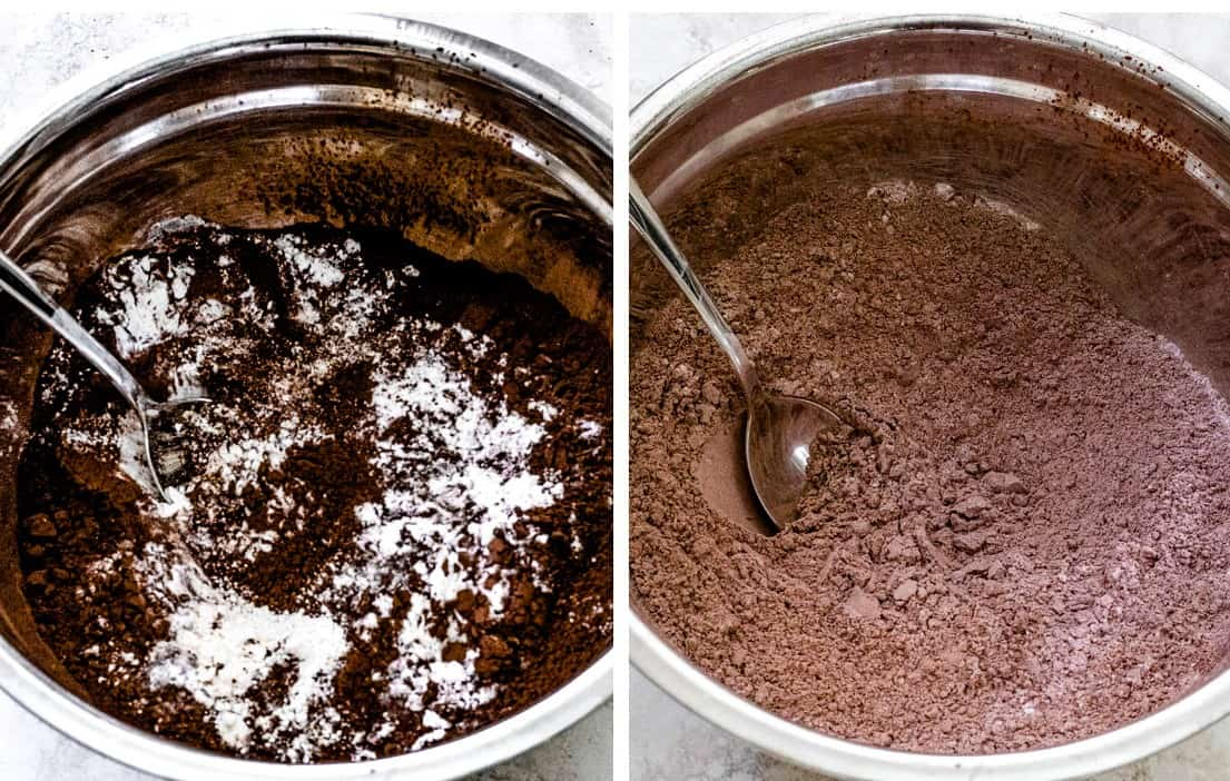 Two images: Left is Dutch cocoa and flour unsifted, right is sifted.