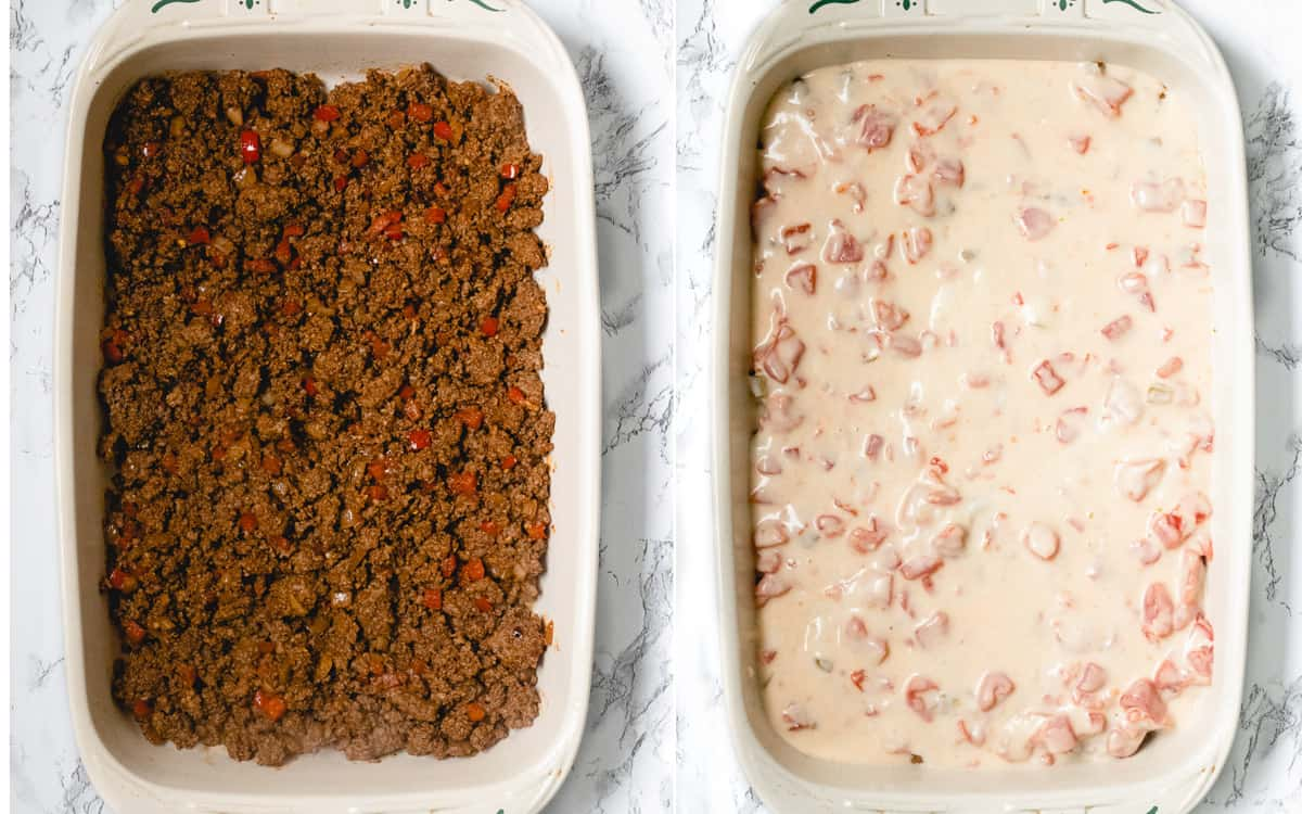 Layers of hotdish. Left is taco meat, on the right is with the cheese layer.