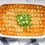 9x13 pan of taco hotdish.