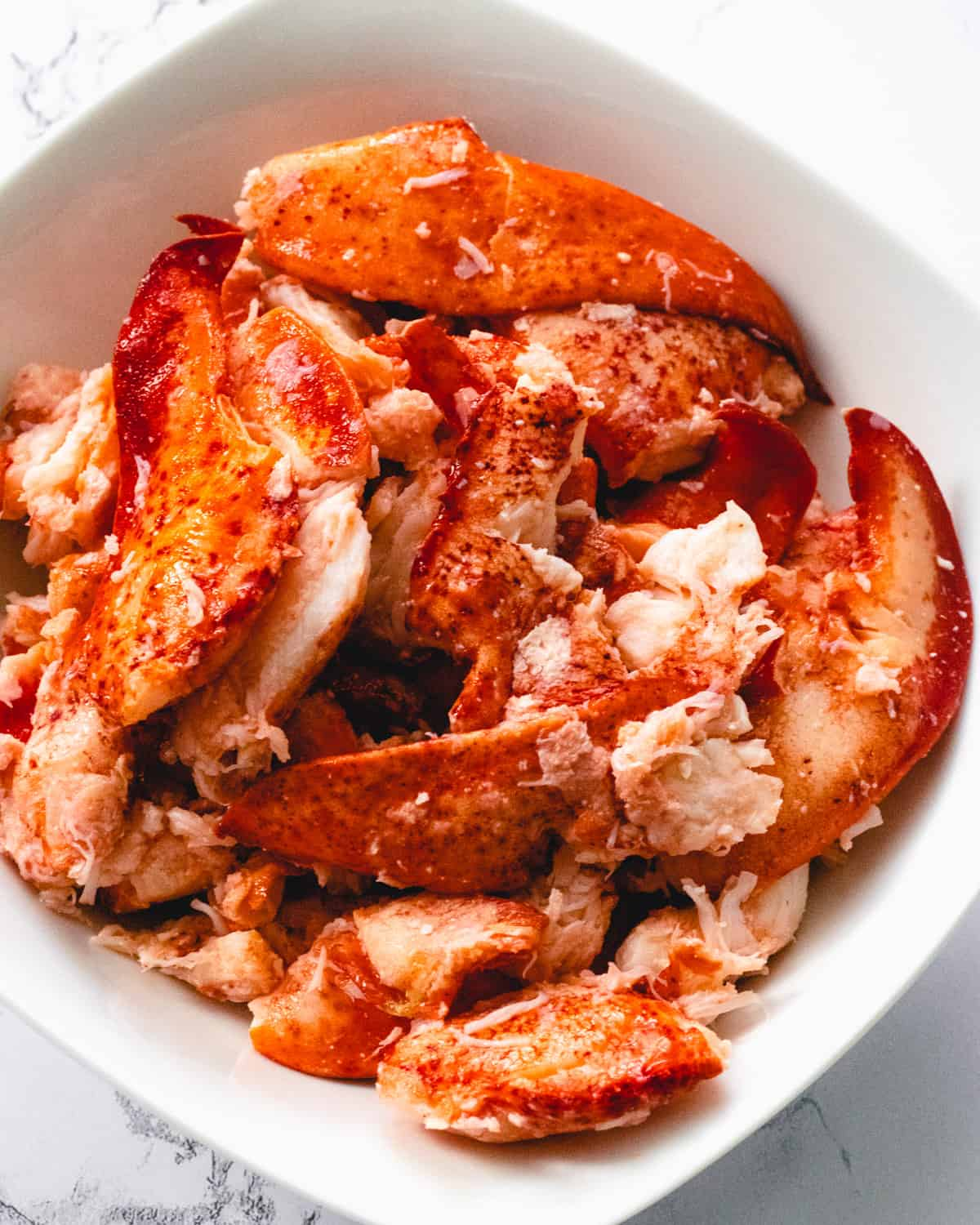 Bowl of fresh lobster meat.