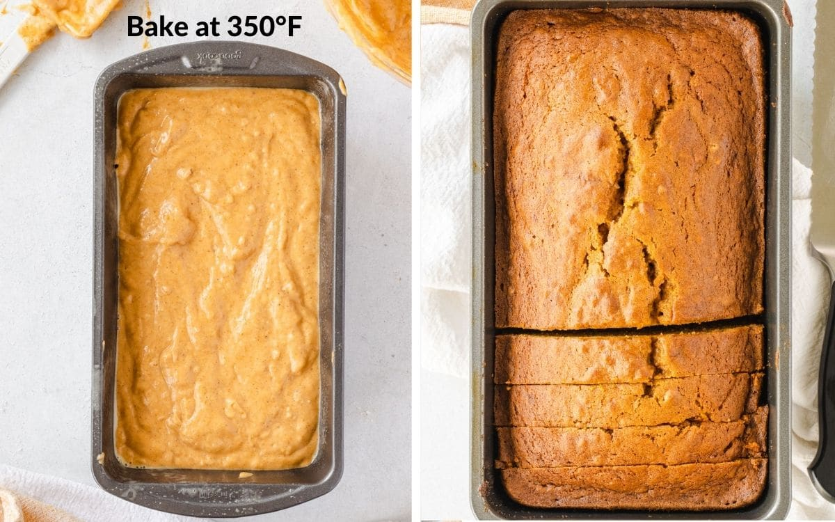 Batter in loaf pan, then second photo of bread baked.