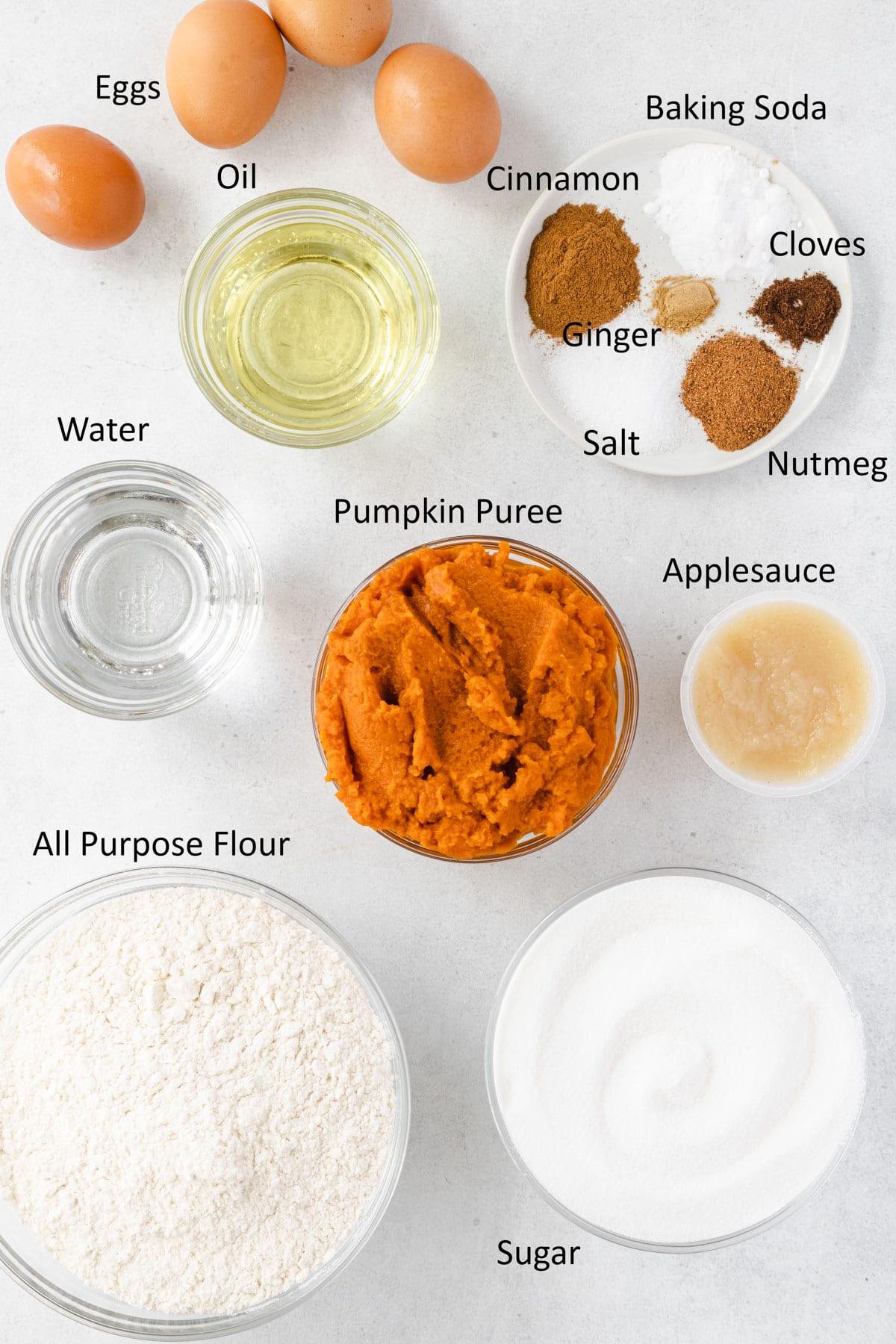 Labeled pumpkin bread ingredients.