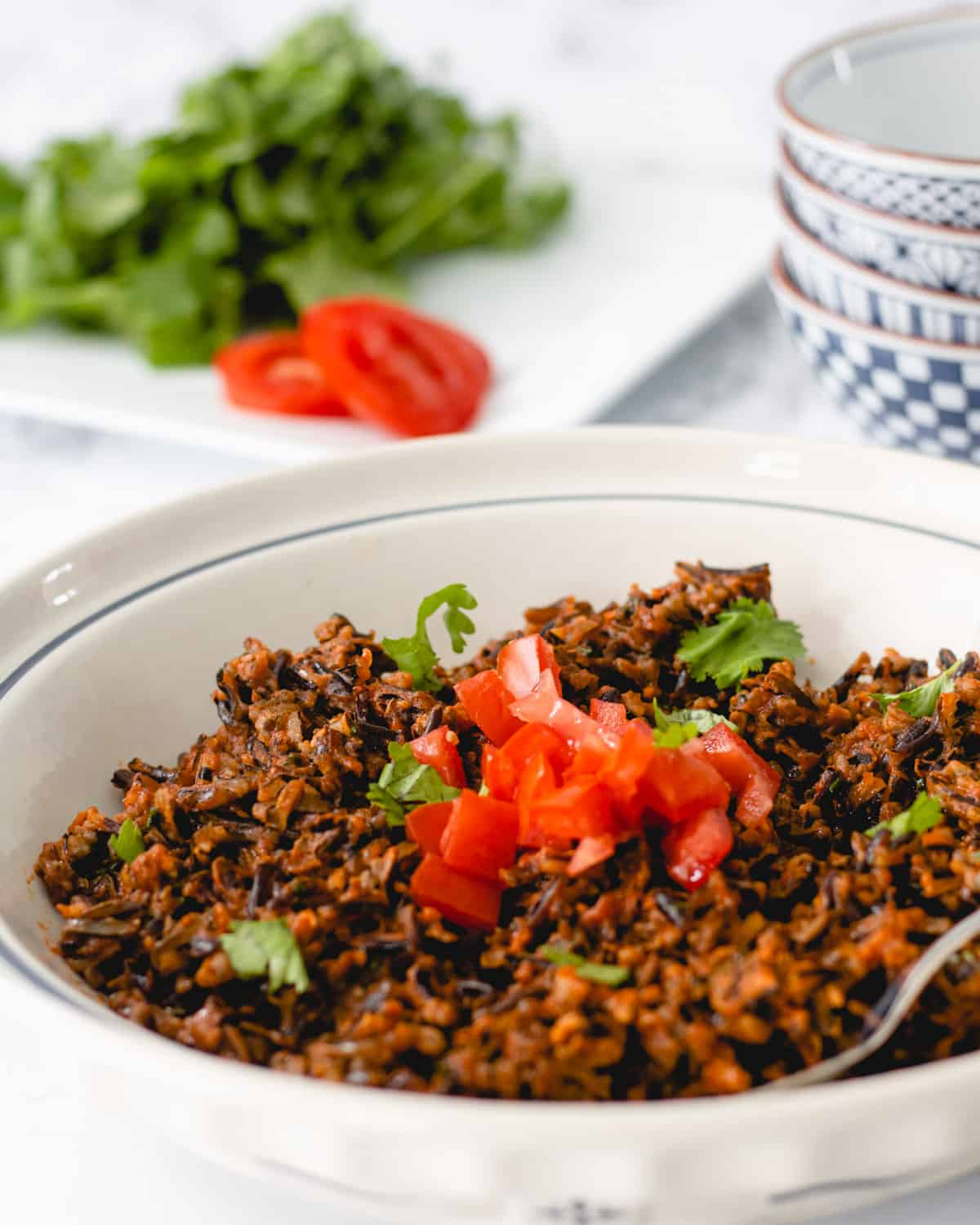 Bowl of Mexican wild rice. Tomatoes and cilantro on a plate in the background.