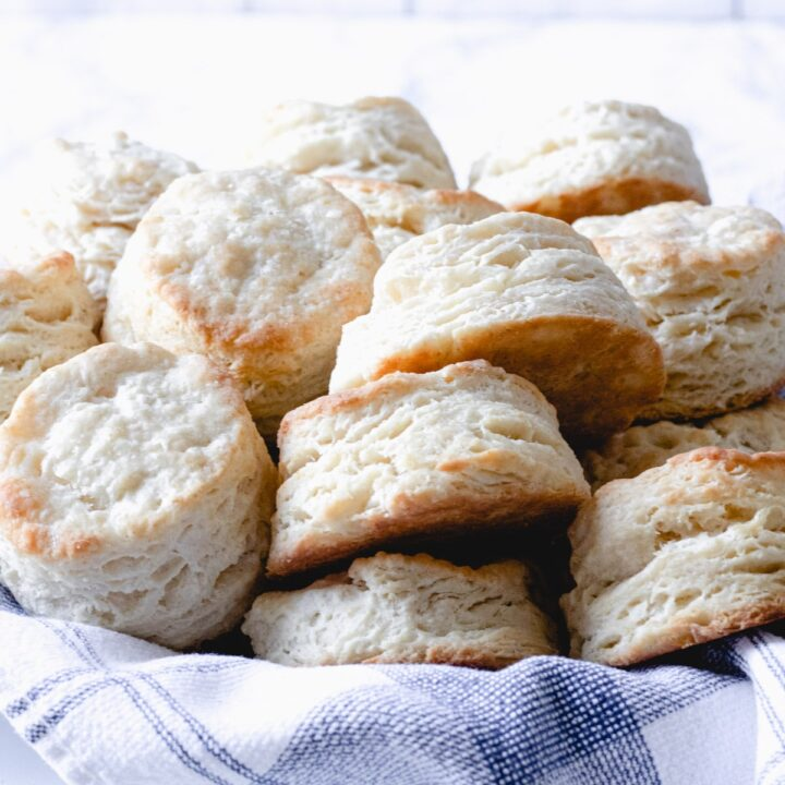 basket of old fashioned buttermilk biscuits.