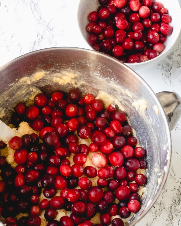 Cranberries sprinkled over the batter.