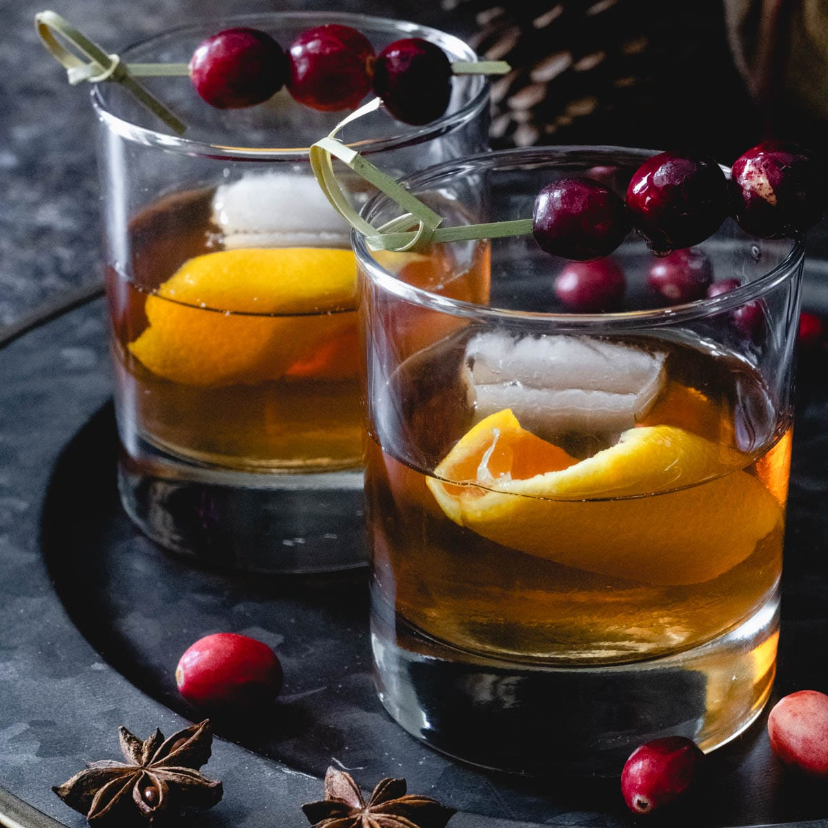 2 cranberry old fashioned cocktails