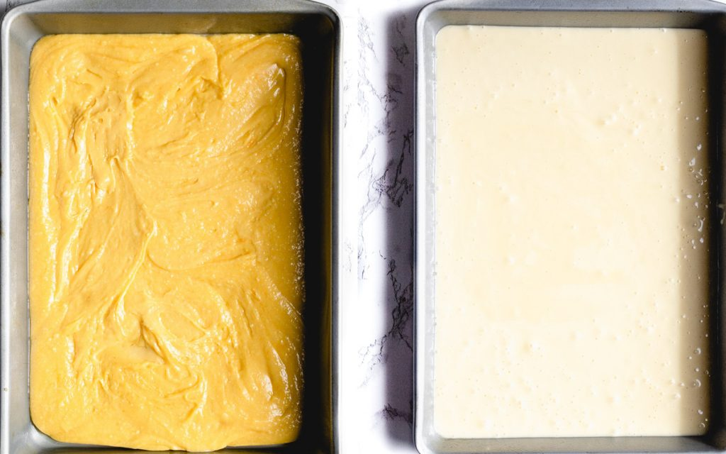 Diptych - on the left is cake batter in a 9x13 pan and on the right is the filling poured over the cake batter.