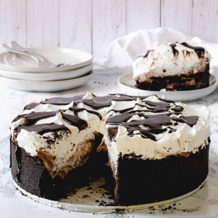 5-layer Mississippi Mud Pie with a slice out of it.