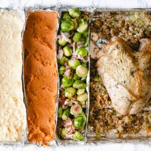 whole thanksgiving dinner on one pan.