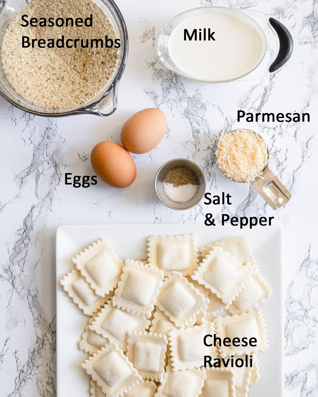 Ingredients: Seasoned breadcrumbs, milk, eggs, salt, pepper, Parmesan, and cheese ravioli.