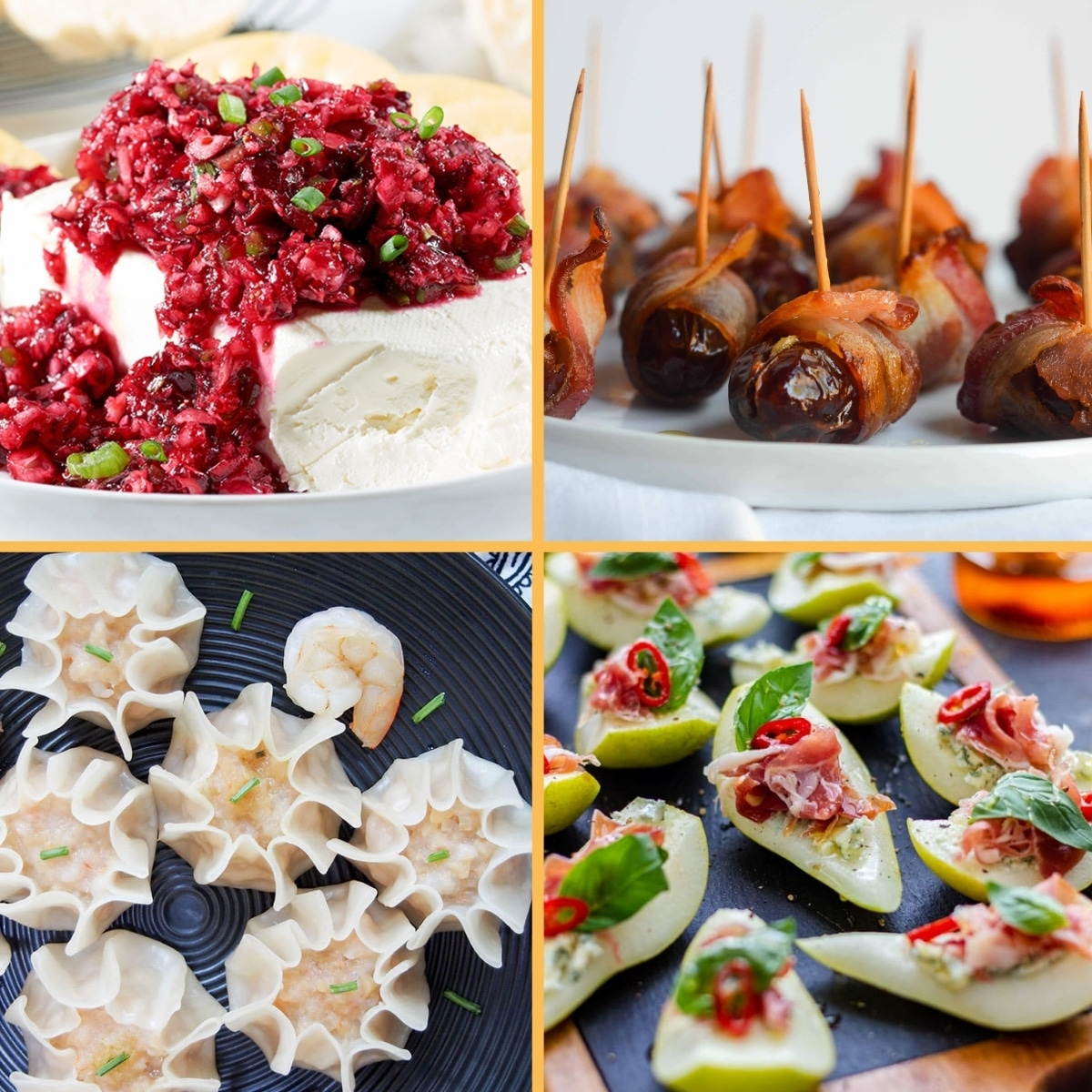 grid of 4 elegant appetizers: jalapeno cranberry spread, bacon wrapped dates, shrimp shumai, and proscuitto pears.