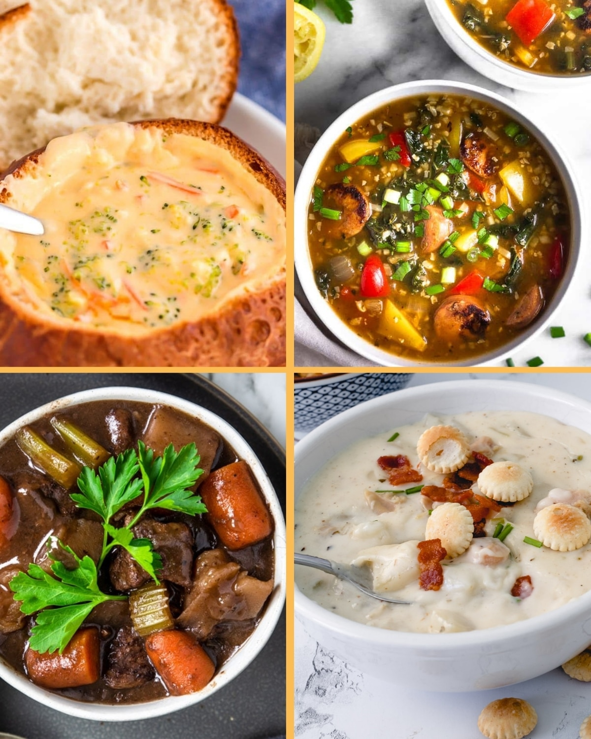 Four soups of the 12 comforting soups, in a grid: brocolli cheese, sausage, beef stew, clam chowder.