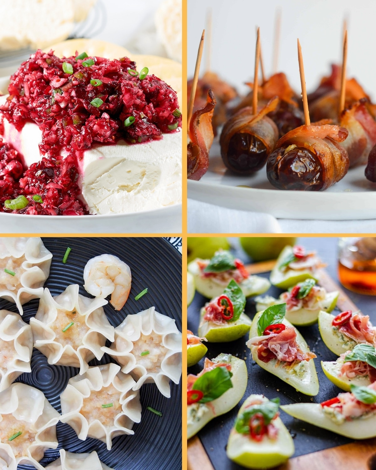 A grid of 4 elegant appetizers, incuding jalapeno cranberry spread, bacon wrapped dates, shrimp shumai, and proscuitto pears.