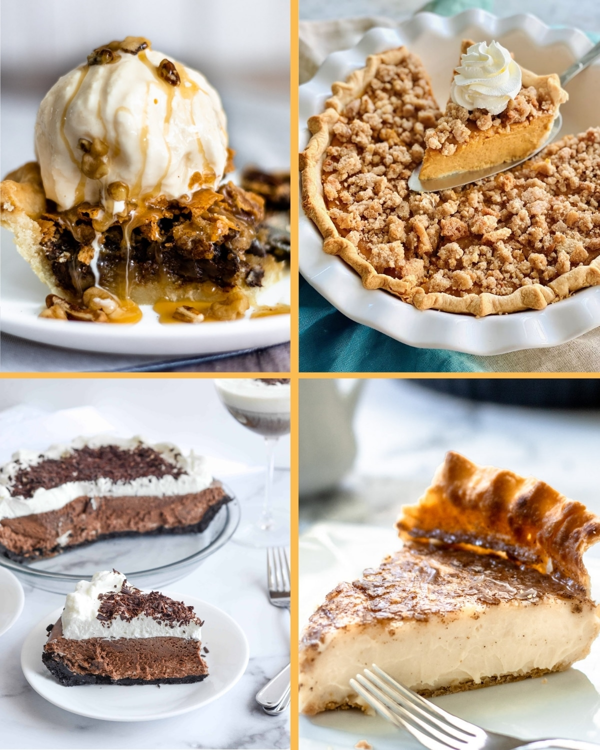 A collection of holiday pie recipes, featuring Chocolate Pecan, Snickerdoodle Pumpkin, Chocolate Espresso Silk, and Sugar Cream.