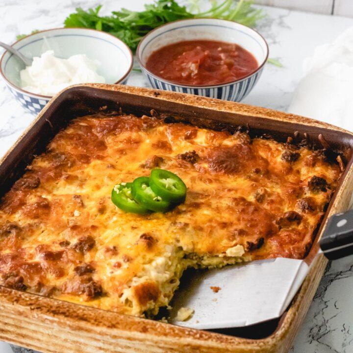 9x9 pan of southwest breakfast casserole.
