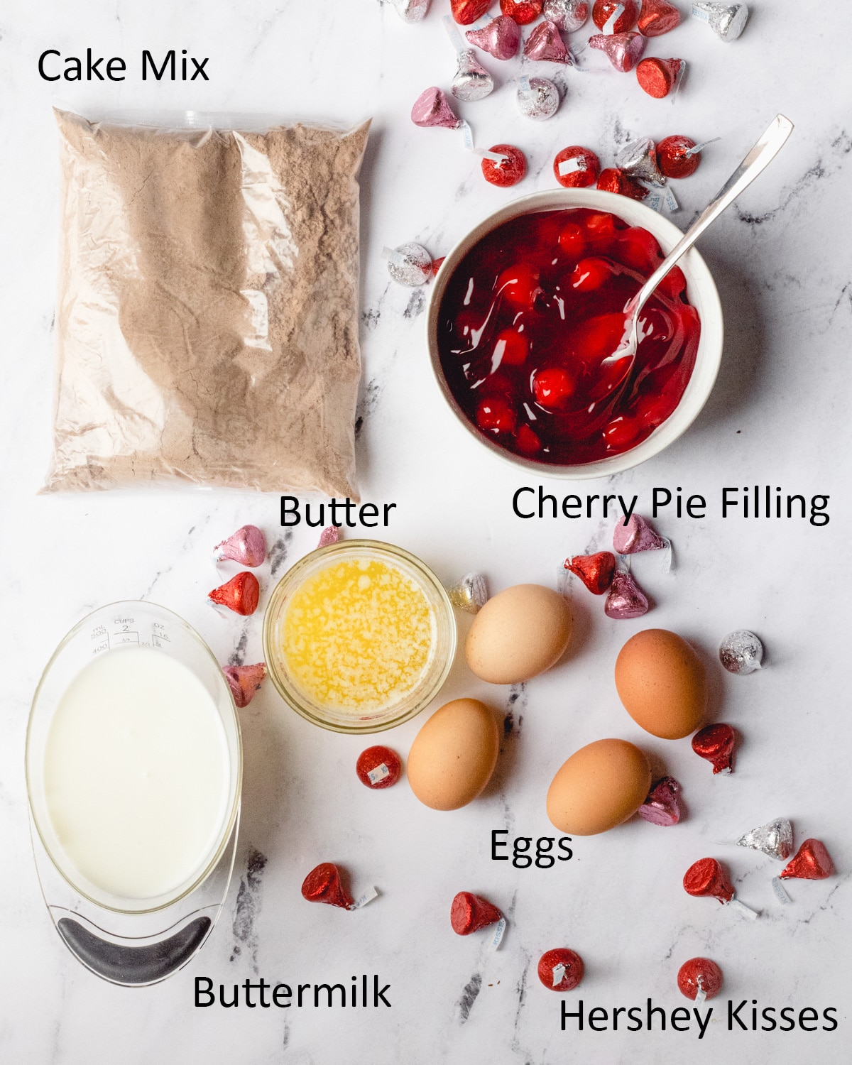 Cupcake ingredients: cake mix, cherry pie filling, butter, eggs,  buttermilk, Hershey kisses