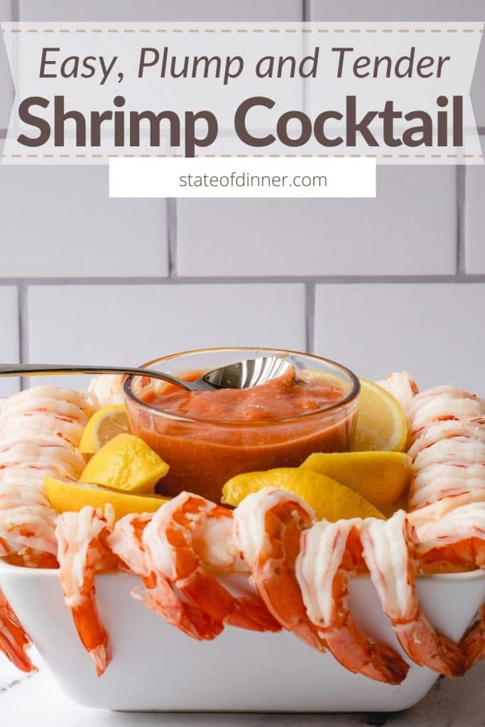 Pinterest Pin: Easy, Plump and Tender Shrimp Cocktail.