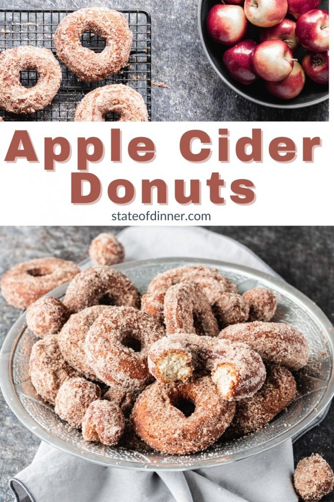 Pinterest Pin: Apple cider donuts in a bowl.