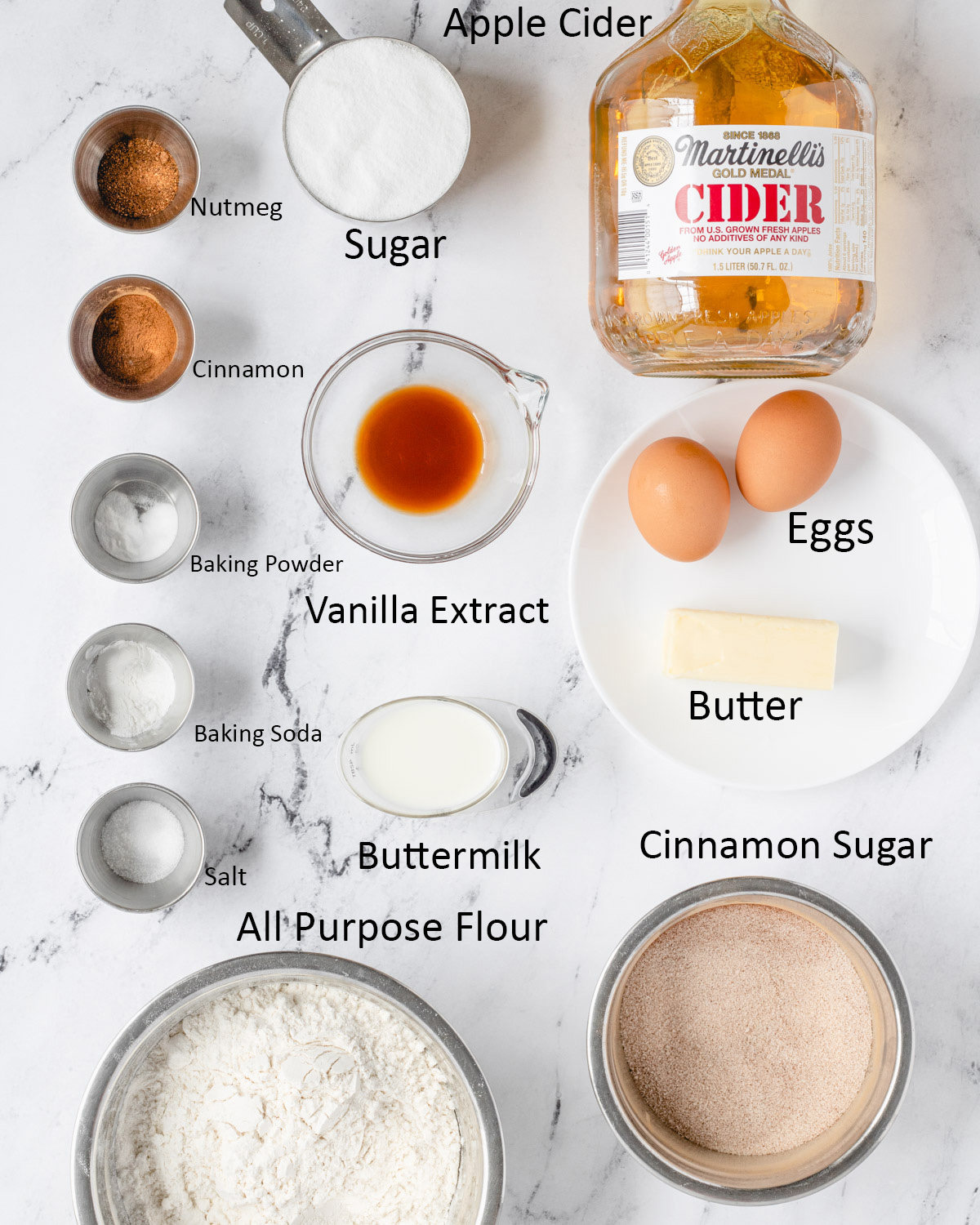 Apple cider donut ingredients laid out and labeled.