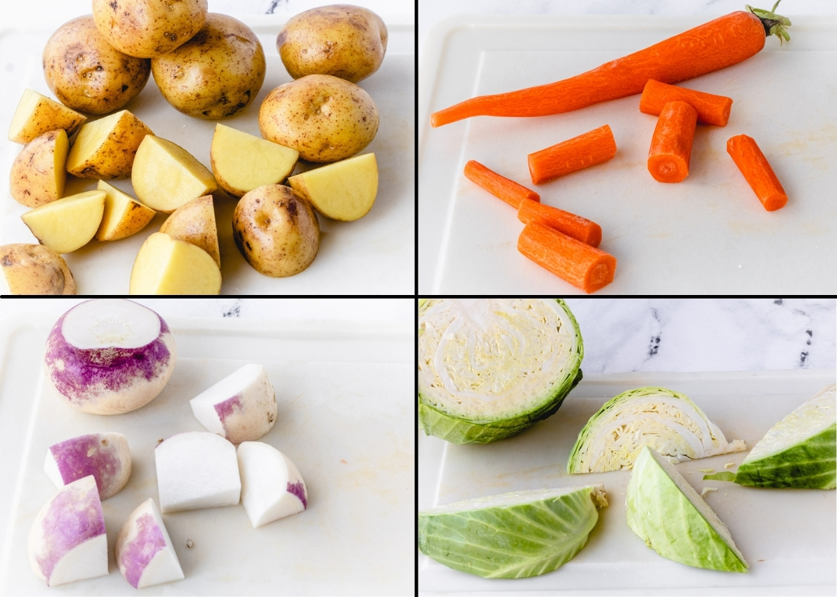 Quadrant of vegetables, potatoes, carrots, turnips, and cabbage wedges.