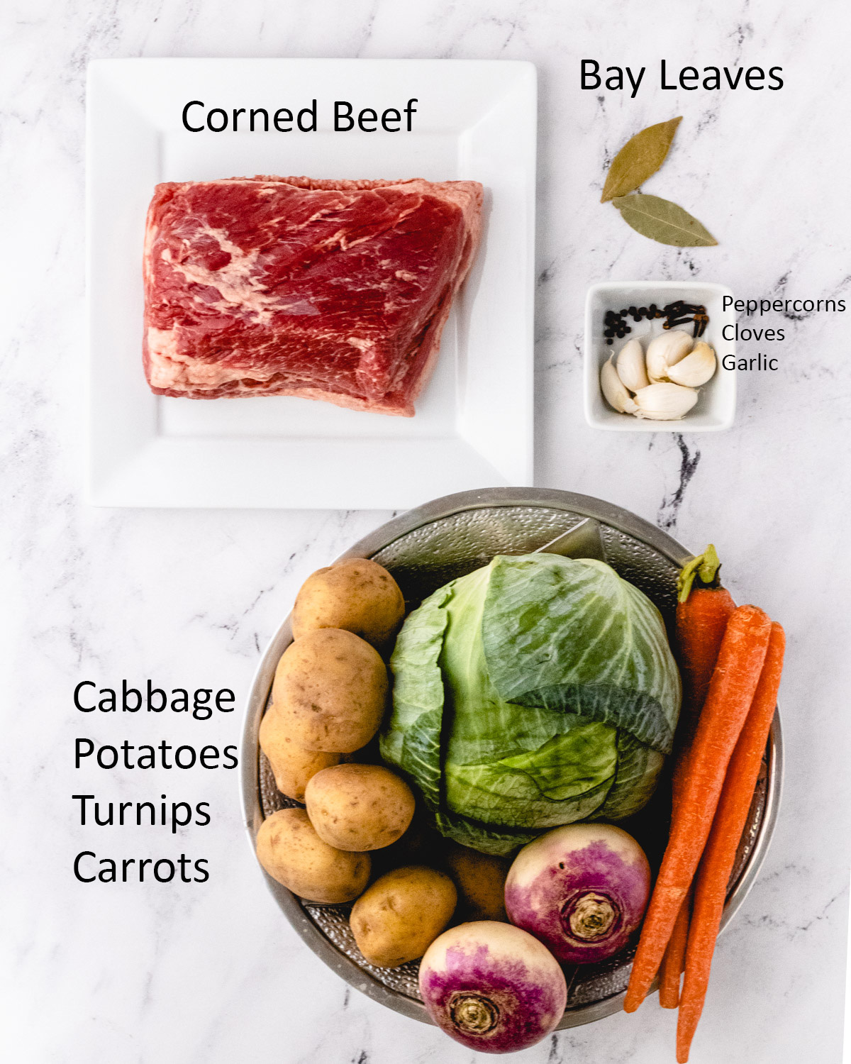 Corned beef ingredients: corned beef, bay leaves, peppercorns, cloves, garlic, cabbage, potatoes, turnips, and carrots.