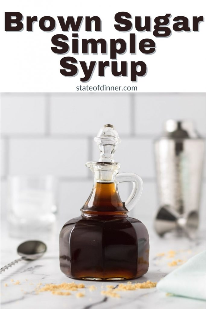 Pinterest post: brown sugar simple syrup in a decorative jar.