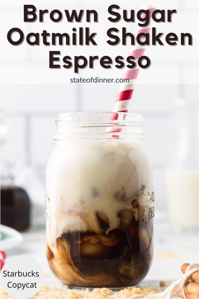 Pinterest pin: Brown sugar oatmilk shaken espresso with red straw, starbucks copycat.