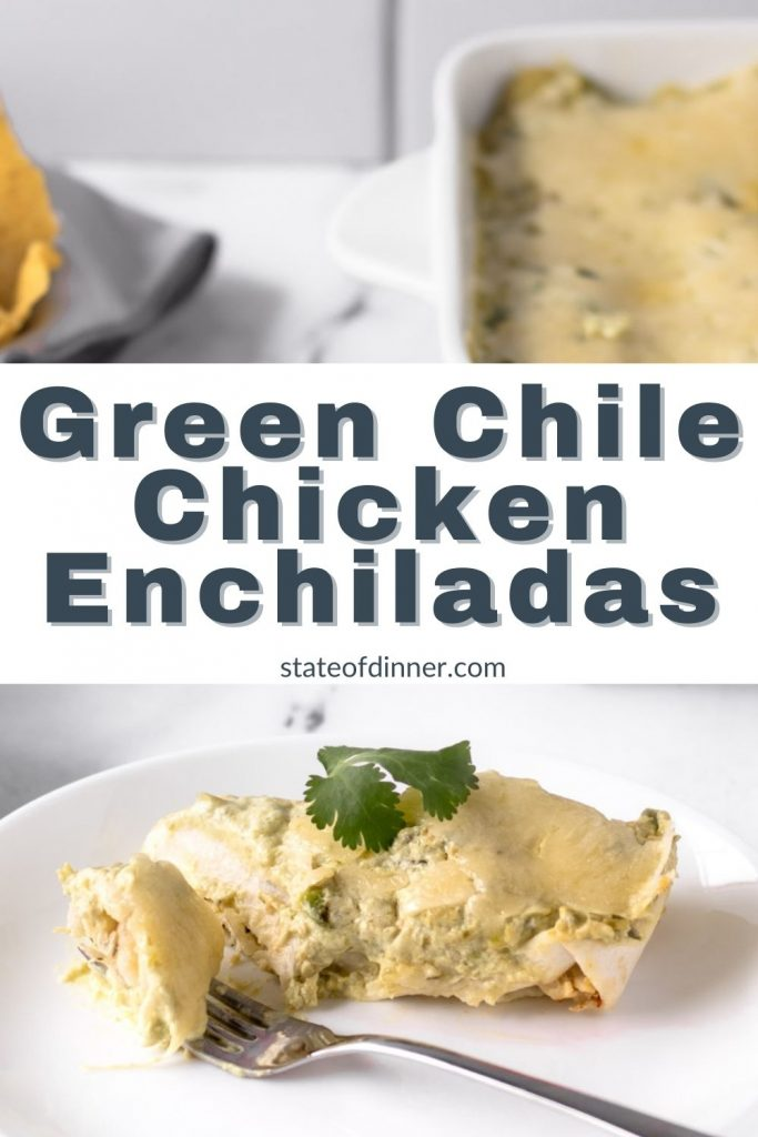 Pinterest Pin: Green Chile Chicken Enchiladas on a plate with a bite on a fork.