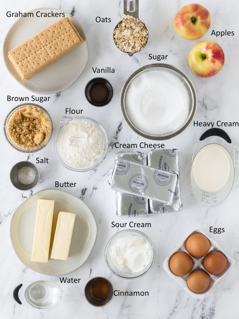 Labeled photo showing all of the caramel apple crumble cheesecake ingredients.