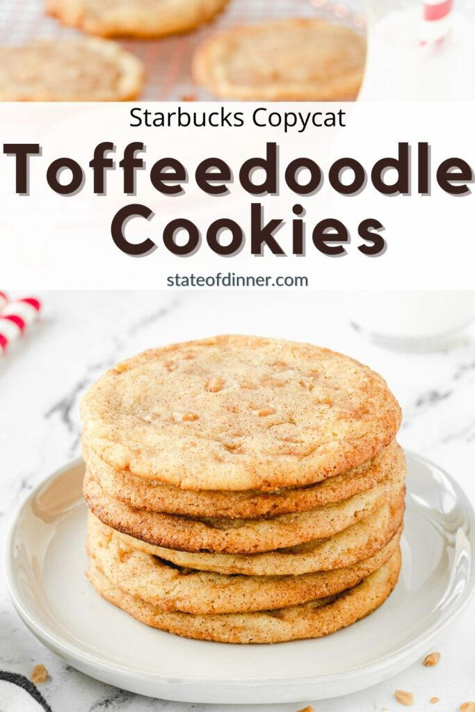 Pinterest pin: Stack of toffee doodle cookies on a plate.