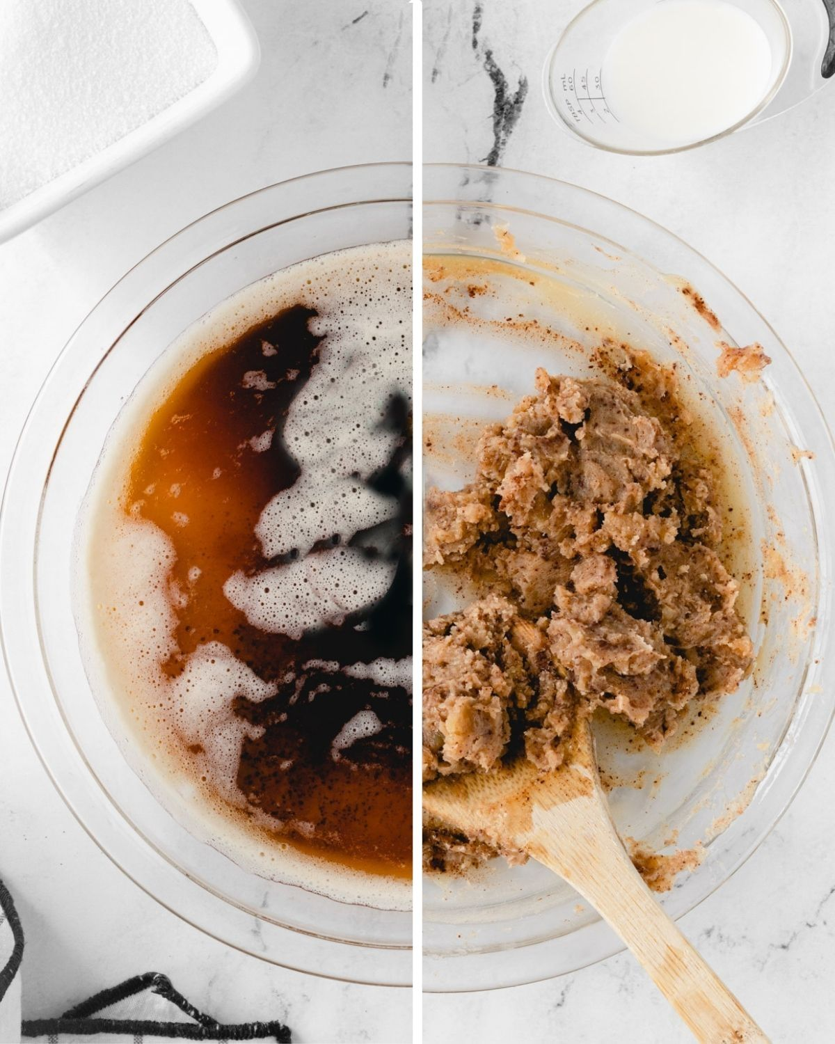 On the left: Melted brown butter, On the right: Brown butter after it has cooled and solidified.