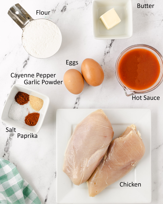 Ingredients for air fryer chicken wings.