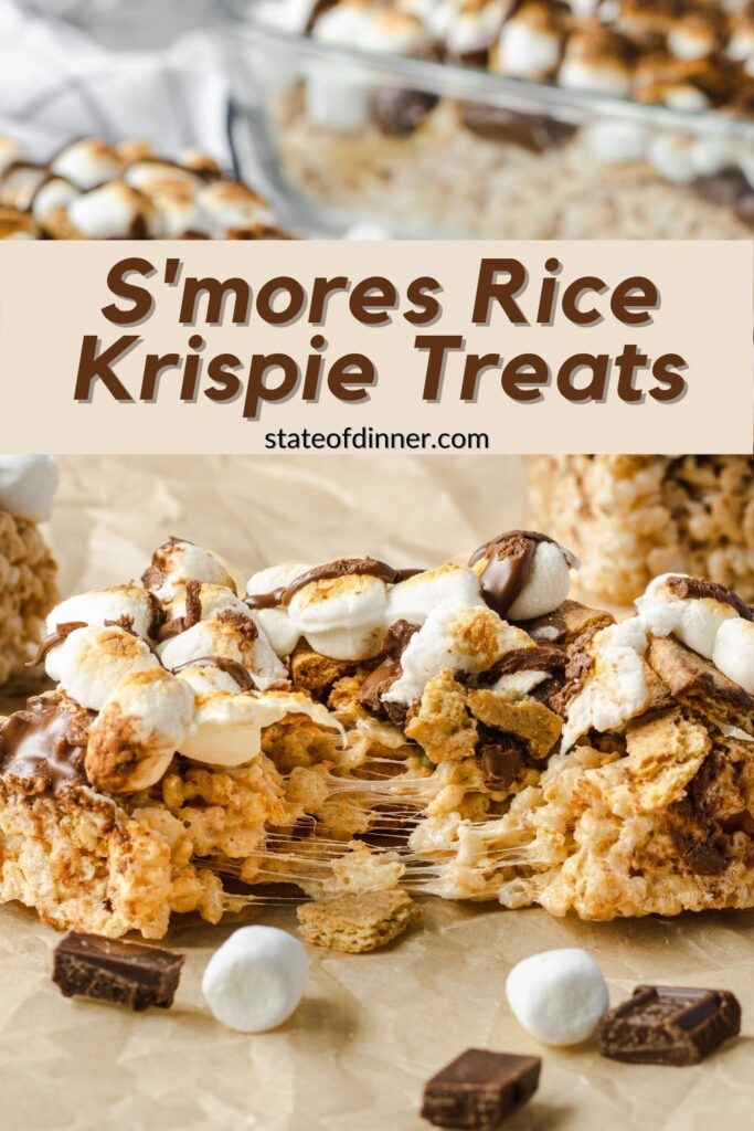 Pinterest pin: S'mores rice krispie treat pulled apart, showing gooey marshmallows.